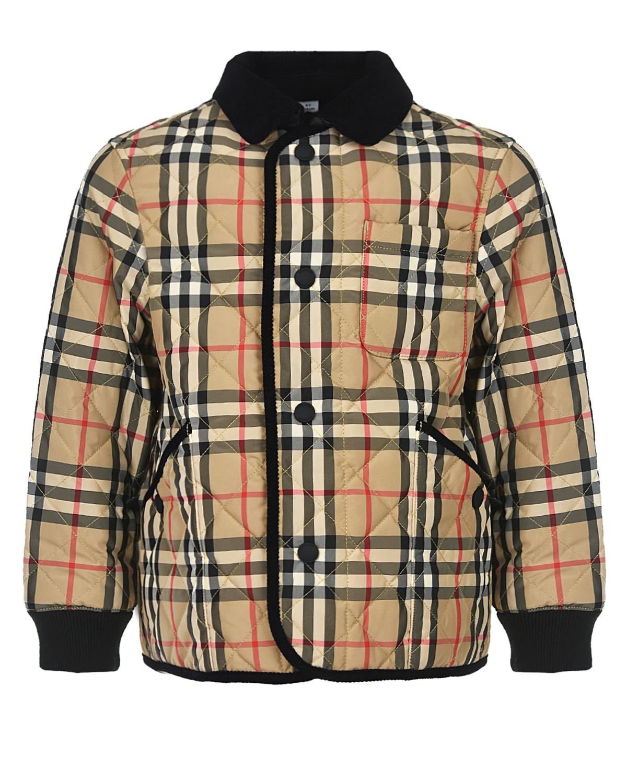Купить Бежевая стеганая куртка в клетку Burberry детская, Бежевый, 100% полиэстер, 100%хлопок, 50%акрил+40%хлопок+9%полиамид+1%эластан