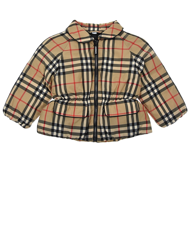 Купить Куртка с принтом в клетку Burberry детская, Бежевый, 100%полиэстер, 80%пух+20%перо