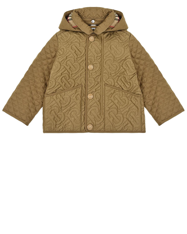 Бежевая стеганая куртка с монограммой Burberry детская, Бежевый, 100%полиэстер, 100%полиэфирные волокна  - купить со скидкой