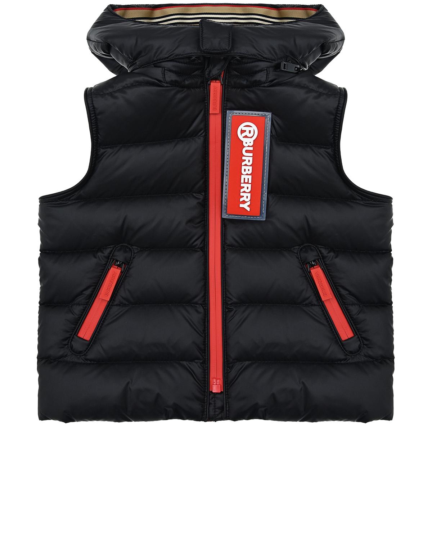 Черный жилет с капюшоном Burberry детский, 100% полиамид, 90%пух+10%перо, 100%полиэфирные волокна  - купить со скидкой