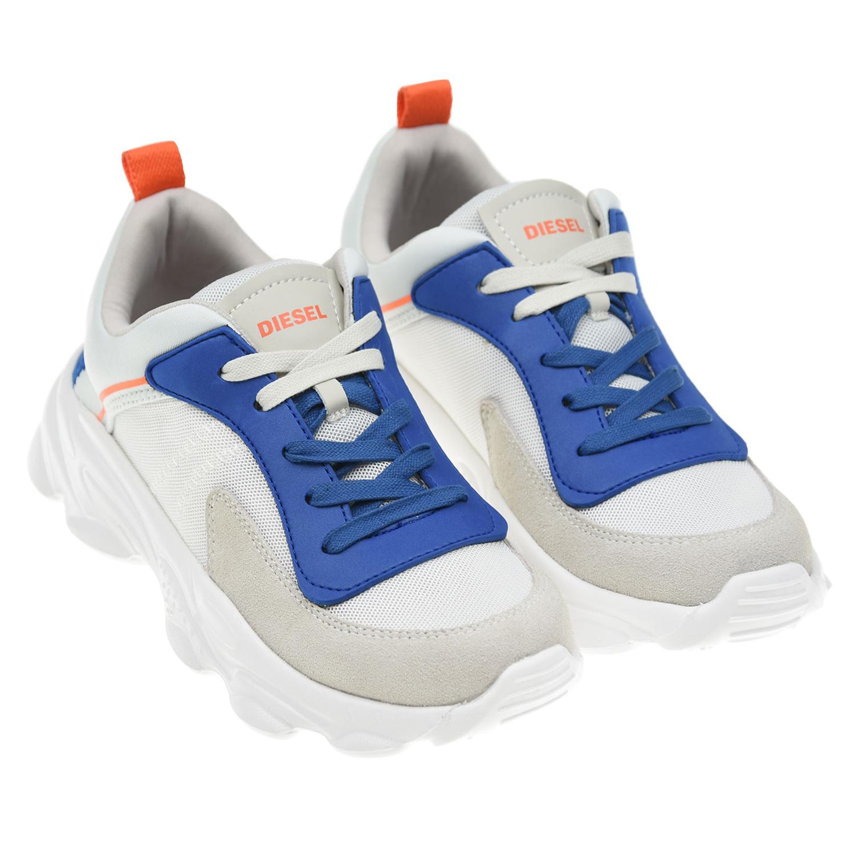 Купить Белые кроссовки с контрастной шнуровкой Diesel детские, Белый, верх:70% полиэстер 20% кожа 10% этиленвинилацетат, подкладка и стелька:100% хлопок, подошва:100% этиленвинилацетат