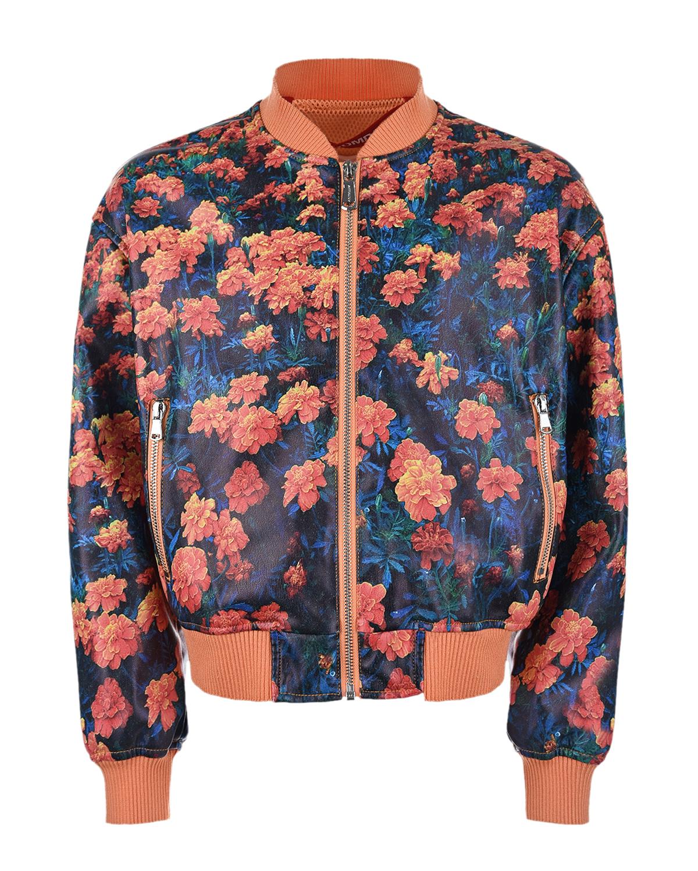 Купить Куртка-бомбер из эко-кожи с цветочным принтом Freedomday детская, Мультиколор, 100%полиуретан, 100%полиэстер