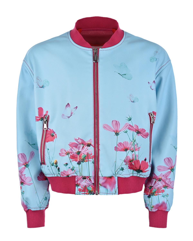 Купить Голубая куртка-бомбер из эко-кожи с цветочным принтом Freedomday детская, Мультиколор, 100%полиуретан, 100%полиэстер