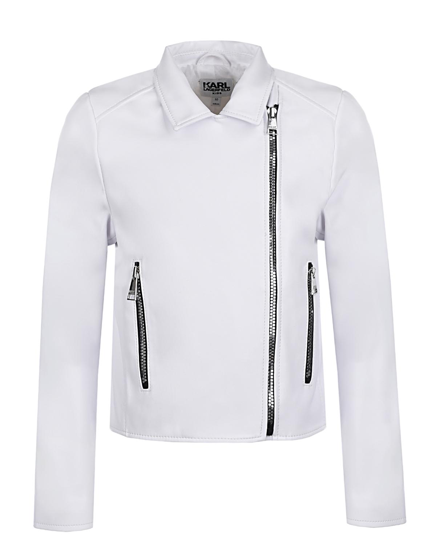 Купить Белая куртка с логотипом Karl Lagerfeld kids детская, Белый, 100% полиуретан, 100%полиэстер, 53%полиэстер+47%вискоза