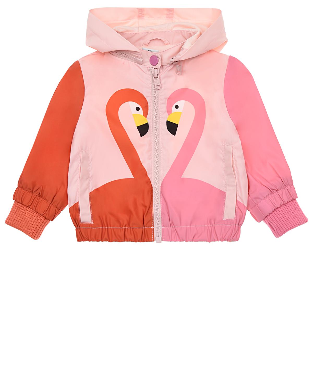 Купить Розовая ветровка с декором фламинго Stella McCartney детская, Нет цвета, 100%полиэстер, 100%хлопок, 97%полиэстер+3%эластан
