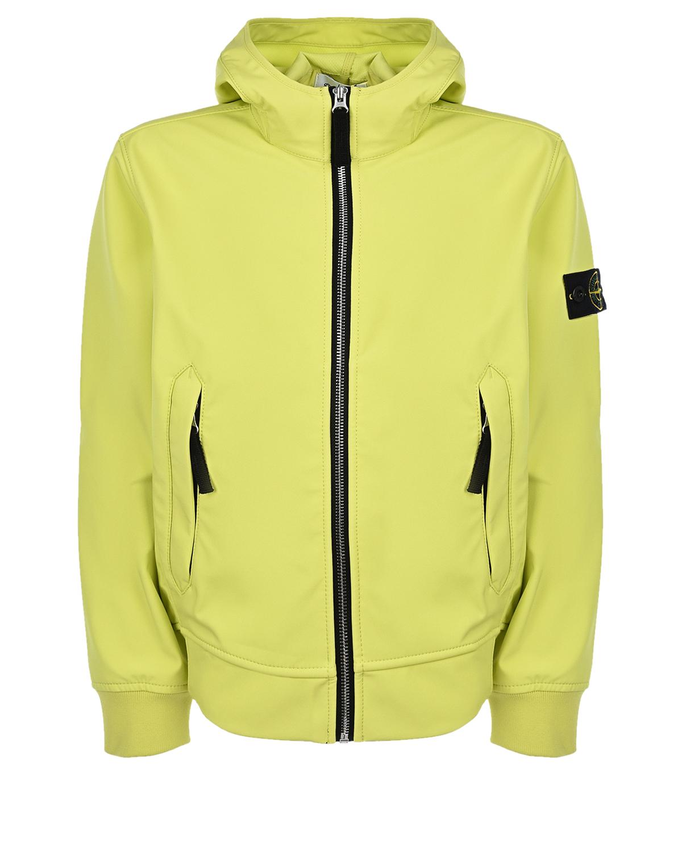Куртка лимонного цвета Stone Island детская, Нет цвета, 94%полиэстер+6%эластан, 100%полиэстер  - купить со скидкой