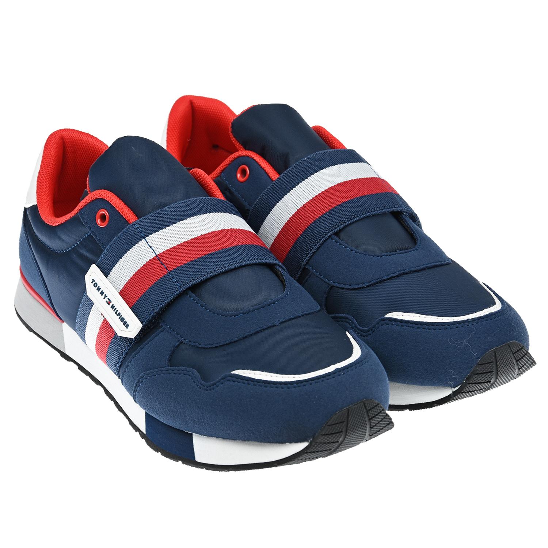 Купить Синие кроссовки на липучке Tommy Hilfiger детские, Нет цвета, Верх:65% полиэстер 35% искусственная кожа, Подкладка:100% полиэстер, Стелька:100% полиэстер, Подошва:35% этиленвинилацетат 35% резина 30% полиуретан