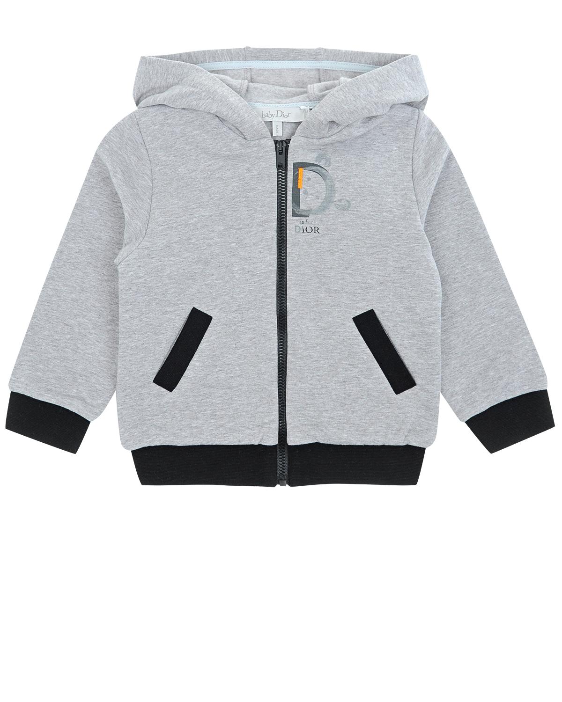 Купить Спортивная куртка c капюшоном Dior детская, Серый, 95%хлопок+5%эластан, 100%хлопок