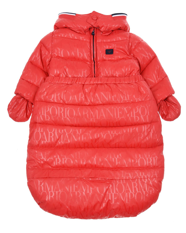 Купить Конверт-трансформер с логотипом Emporio Armani детский, Красный, 100%полиамид, 100%полиэстер, 100%хлопок, 97%полиэстер+3%эластан