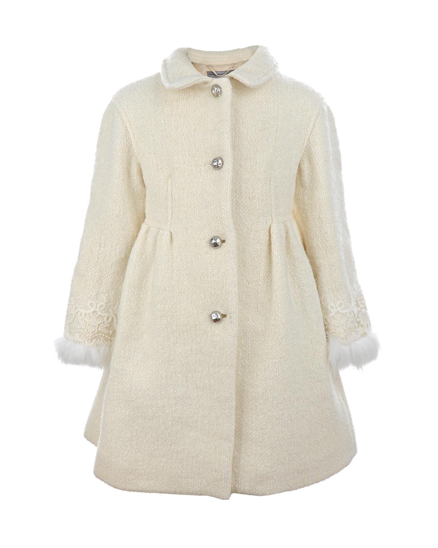 Купить со скидкой Пальто с отделкой кружевом и натуральным мехом Ermanno Scervino детское