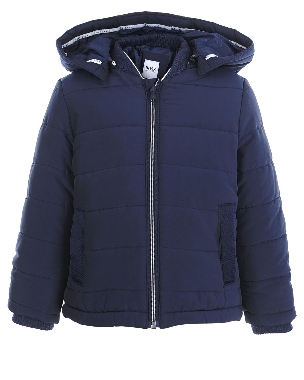 Стеганая куртка с капюшоном Hugo Boss детская фото