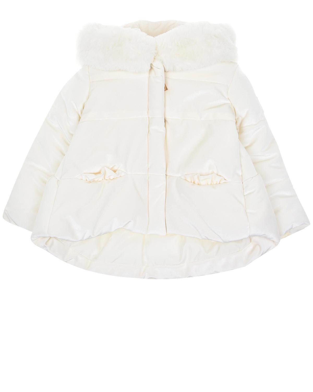 Пальто с асимметричным подолом Monnalisa детское фото