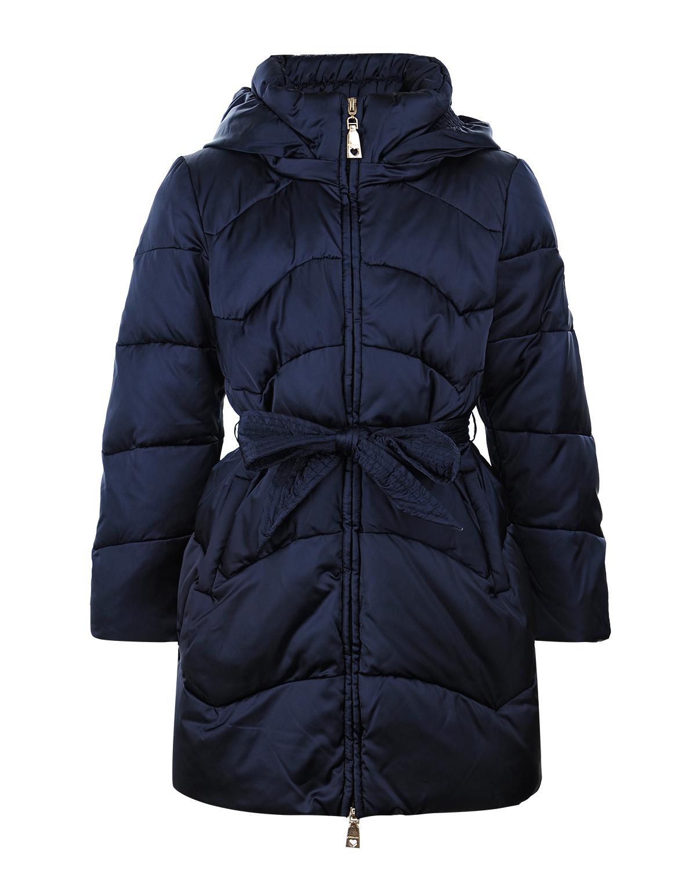 Стеганое пальто с широким поясом Monnalisa детское фото