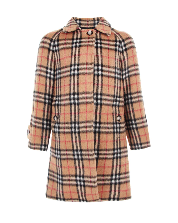 Однобортное пальто в клетку Vintage Check Burberry детское фото