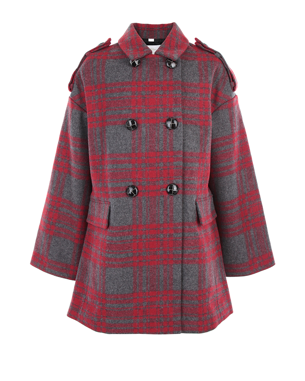 Двубортное пальто Burberry в клеткуПальто<br>Двубортное пальто Burberry из смесовой шерсти в красно-серую клетку. Модель с двумя карманами с клапанами, погонами и хлястиком на спине. Пальто застегивается на пуговицы.