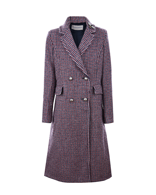 Пальто с брошью Ermanno ScervinoПальто<br>Пальто Ermanno Scervino их смесовой шерстяной ткани в красно-синюю гусиную лапку. Двубортная модель с отложным воротником, карманами с клапанами и шлицей. Застегивается на четыре металлических пуговицы. Пальто декорировано брошью в виде пчелы со стразами.
