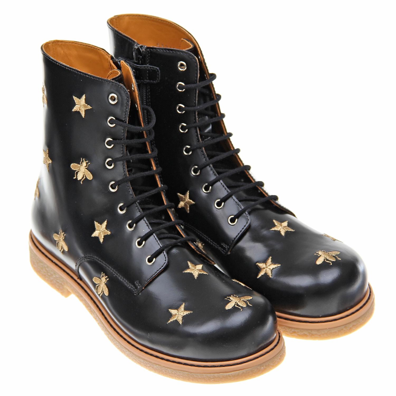 Купить Ботинки с декоративной вышивкой, GUCCI
