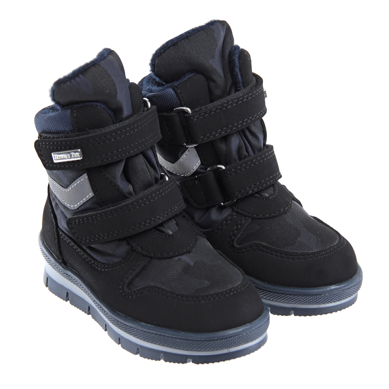 Мембранные сапоги с камуфляжным принтом Jog DogБотинки, полусапоги зимние<br>Сапоги Jog Dog с теплой мягкой подкладкой выполнены из текстиля с камуфляжным принтом. Прочный непродуваемый материал выполнен по специальной технологии Biometex. Мембранная ткань легко впитывает и отводит лишнюю влагу, обеспечивая максимальный комфорт в носке. Обувь фиксируется при помощи двух ремешков с липучками. Толстая рифленая подошва выполнена из полимерных материалов.