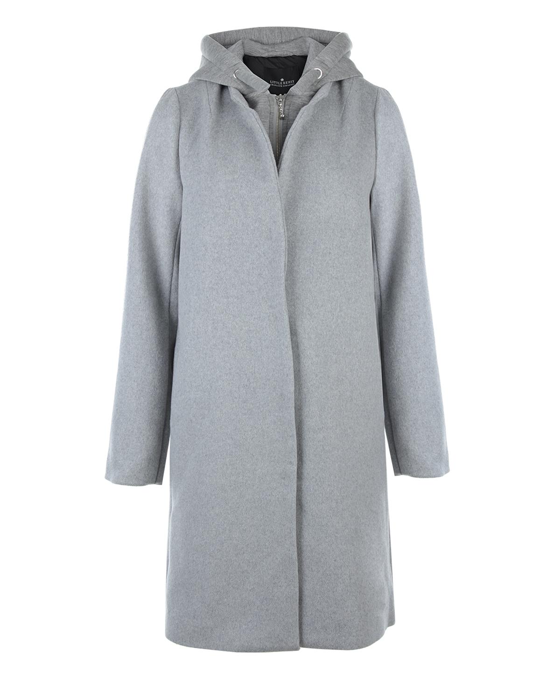 Драповое пальто с трикотажным капюшоном Little RemixПальто<br>Серое драповое пальто Little Remix. Однобортная модель с трикотажным капюшоном, средней длины, застегивается на металлическую молнию.