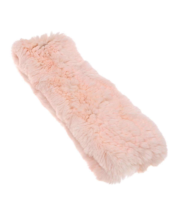 Шарф-снуд из меха кролика рекс. Yves SalomonШарфы<br>Розовый шарф-снуд Yves Salomon из меха кролика рекс.