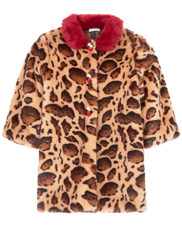 Шуба с леопардовым принтом Dolce&Gabbana