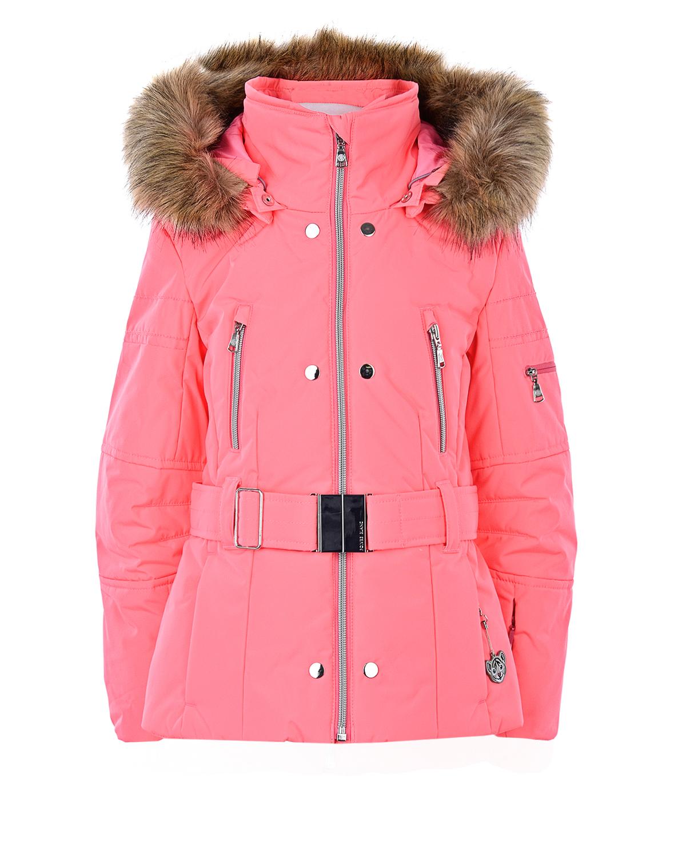Куртка Poivre BlancКуртки демисезонные<br>Розовая куртка Poivre Blanc. Модель с воротником стойкой, съемным капюшоном, поясом с металлической пряжкой и четырьмя внешними карманами на молнии. Куртка дополнена отделкой из эко меха по краю капюшона и внутренним карманом с отверстием  для наушников. Застегивается на металлическую молнию серебристого цвета.