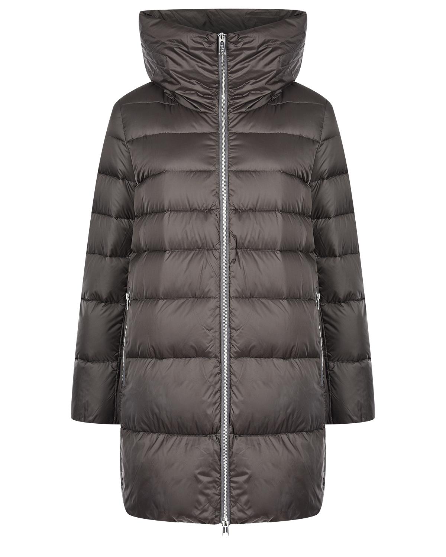 Серая куртка-пуховик с капюшоном ADD фото