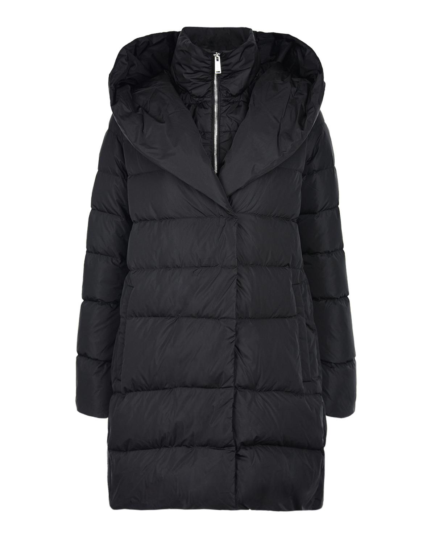 Купить Черное пальто с капюшоном ADD, Черный, 100%полиамид, 90%перо+10%пух