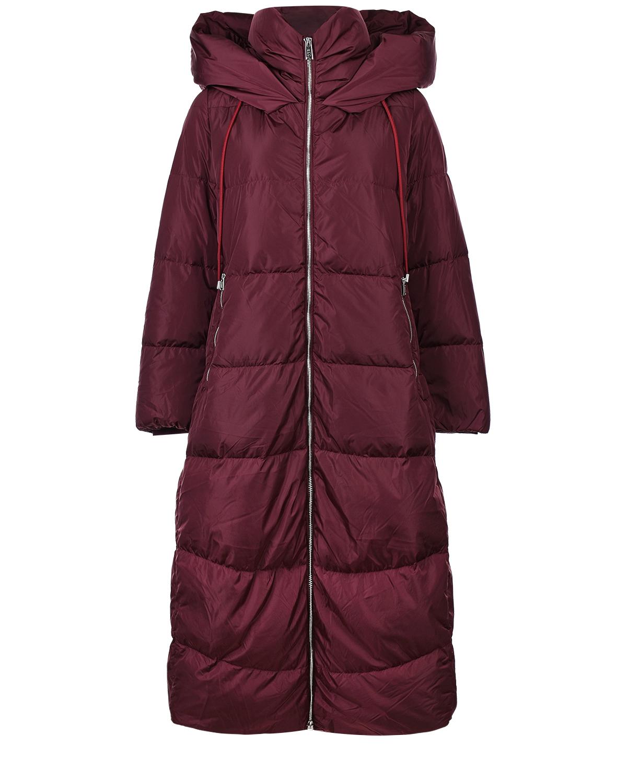 Купить Длинное стеганое пальто ADD, Бордовый, 100%полиамид, 90%перо+10%пух
