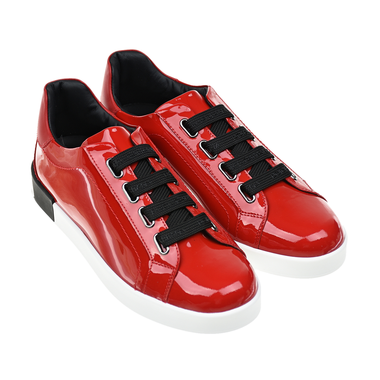Купить Красные лаковые кеды Dolce&Gabbana детские, Красный, верх:100%нат.кожа, подкладка:100%нат.кожа, стелька:картон, нат.кожа, пенополиуретан, подошва:100%резина