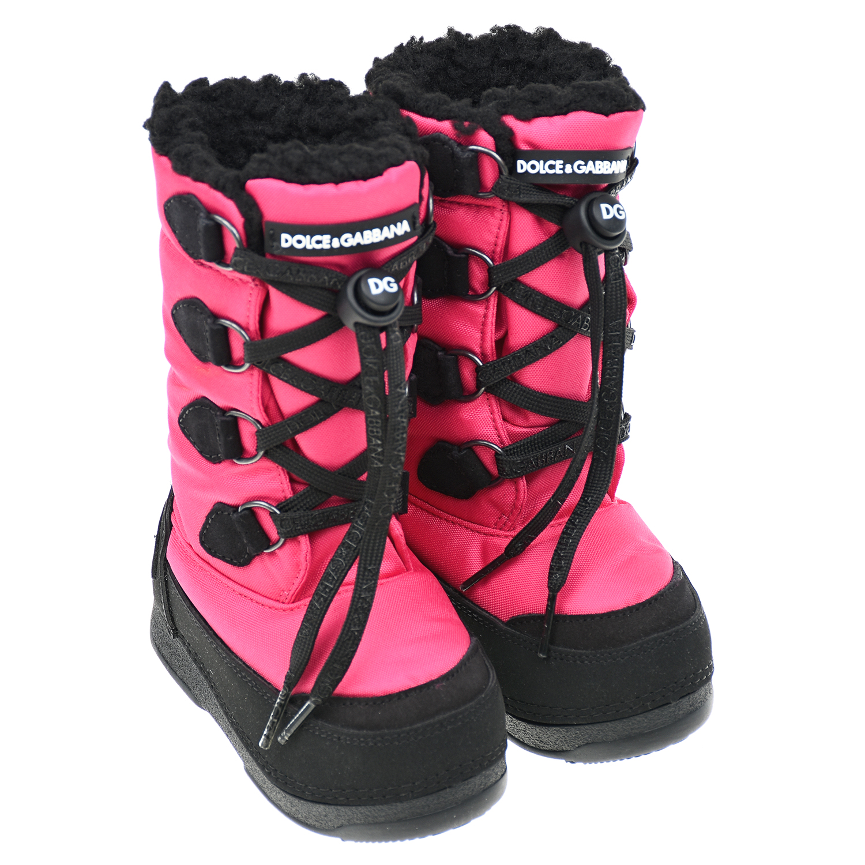 Купить Унты из нейлона цвета фуксии Dolce&Gabbana детские, Розовый, верх:текстиль(100%полиамид), подкладка:текстиль, иск.мех(100%полиэфир), подкладка:картон, текстиль, пенополиуретан, подошва:100%резина