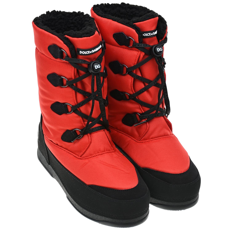Красные унты из нейлона со шнуровкой Dolce&Gabbana
