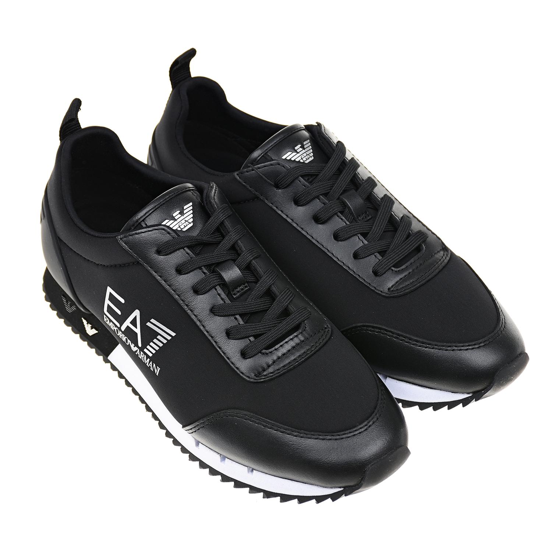 Купить Черные кроссовки с белым логотипом Emporio Armani детские, Черный, верх:85%полиэстер+15%эластан, 100%натур.кожа, 100%полиуретан, подкладка:85%полиэстер+15%эластан, 100%полиэстер, 100%полиуретан.подошва:100%резина