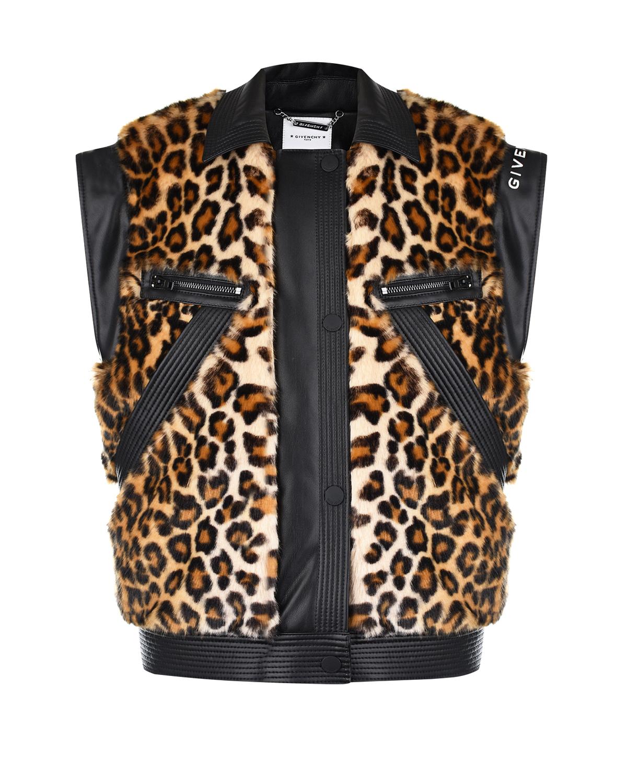Леопардовый жилет из эко-кожи Givenchy детский фото