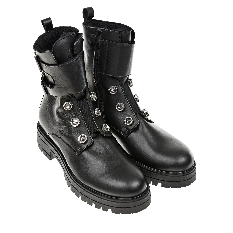 Купить Высокие кожаные ботинки с шерстяной подкладкой Jarrett, Черный, верх-100%нат. кожа, подкладка-100% шерсть, подошва-100%полимерные материалы
