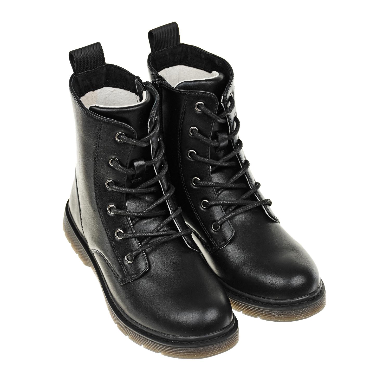 Высокие черные ботинки с логотипом MSGM детские фото