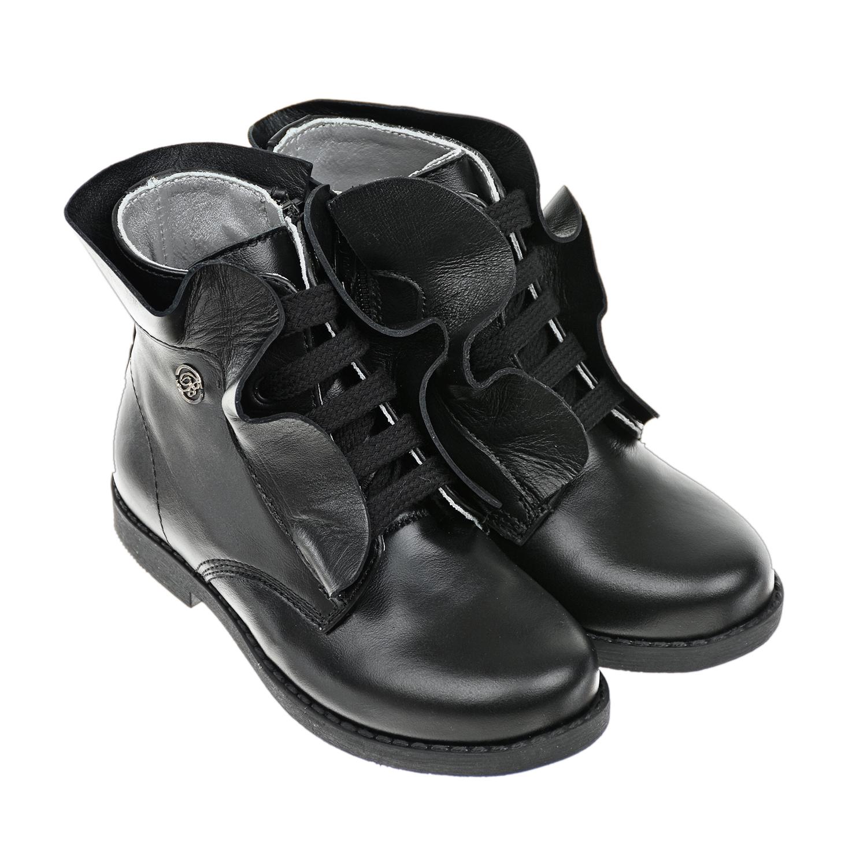Высокие кожаные ботинки с декором Miss Blumarine детские фото