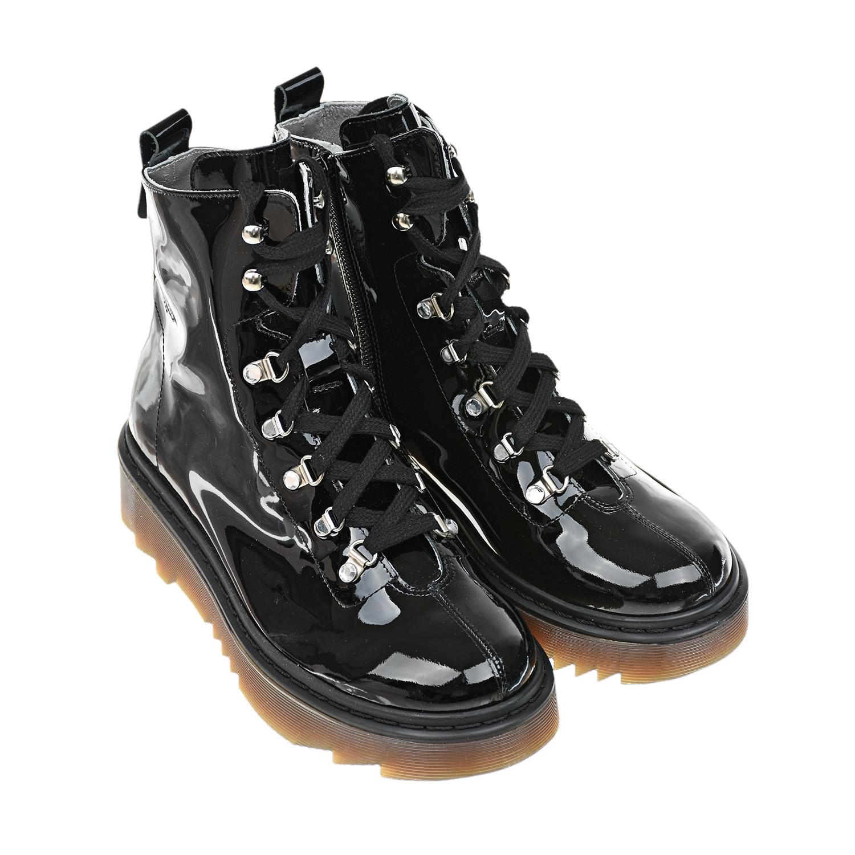 Высокие лакированные ботинки на шнуровке Miss Blumarine фото