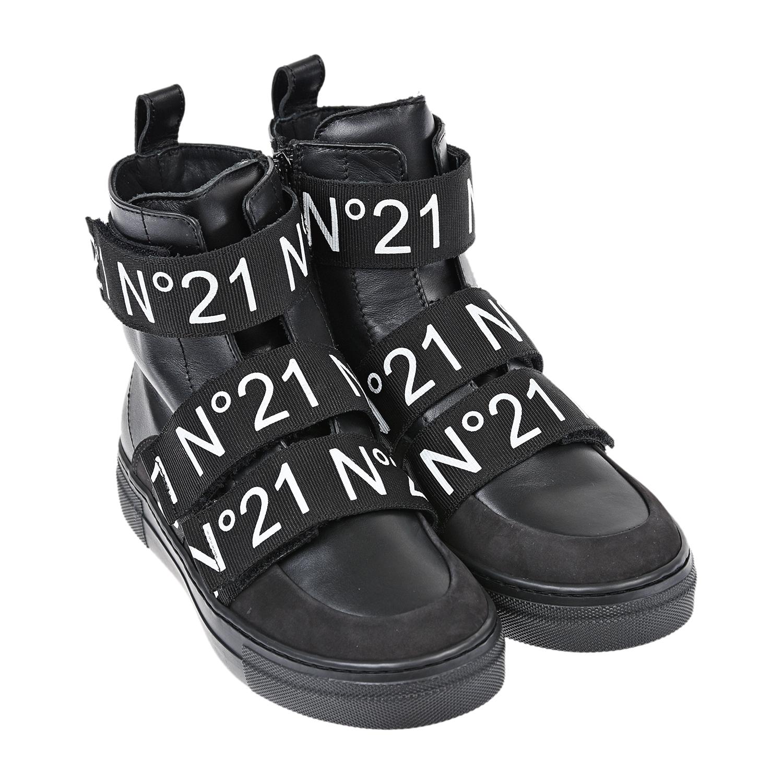 Купить Высокие черные кеды с логотипом №21 детские, Черный, верх:100%нат.кожа, отделка:100%текстиль, подкладка:100%нат.кожа, подошва:100%резина
