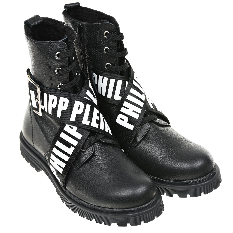 Черные ботинки с ремнями и пряжками Philipp Plein фото