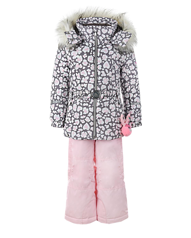Комплект, куртка с вышивкой и розовый полукомбинезон Poivre Blanc детский