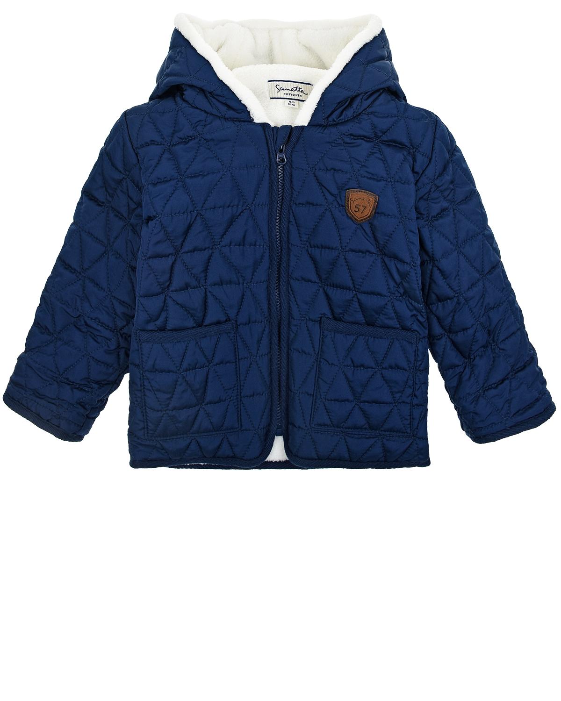 Купить Синяя стеганая куртка на молнии Sanetta детская, Синий, 100%полиэстер