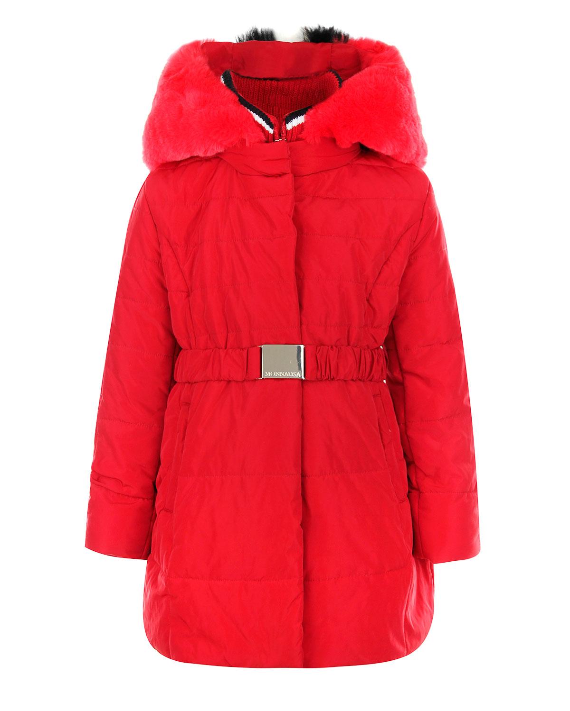 Пальто с меховым капюшоном Monnalisa детское фото