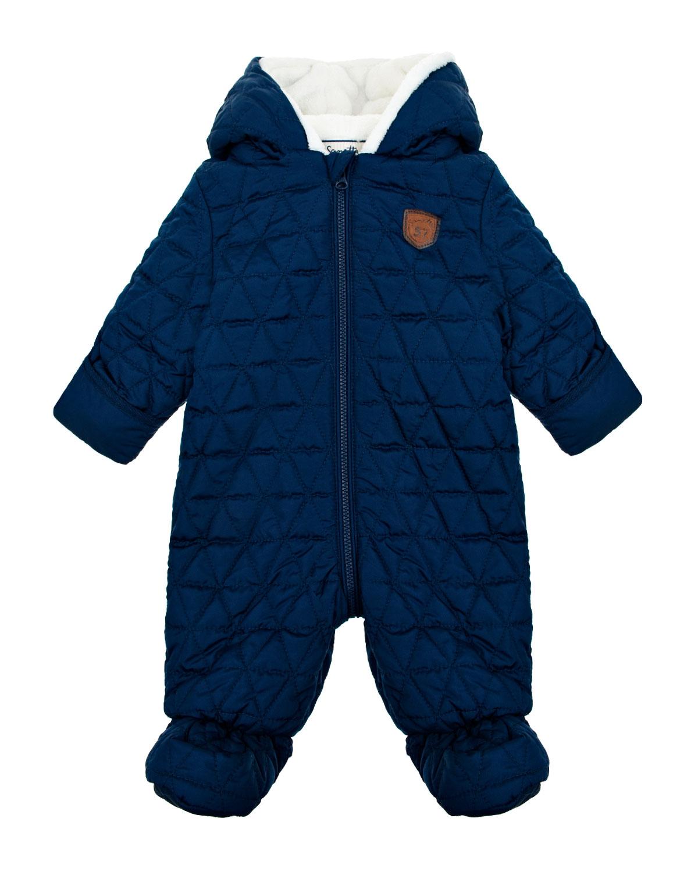 Купить Стеганый комбинезон с капюшоном Sanetta детский, Синий, 100%полиэстер