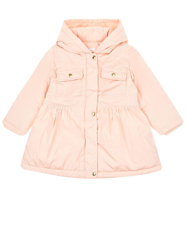 Купить со скидкой Розовое пальто с капюшоном и накладными карманами Chloe детское