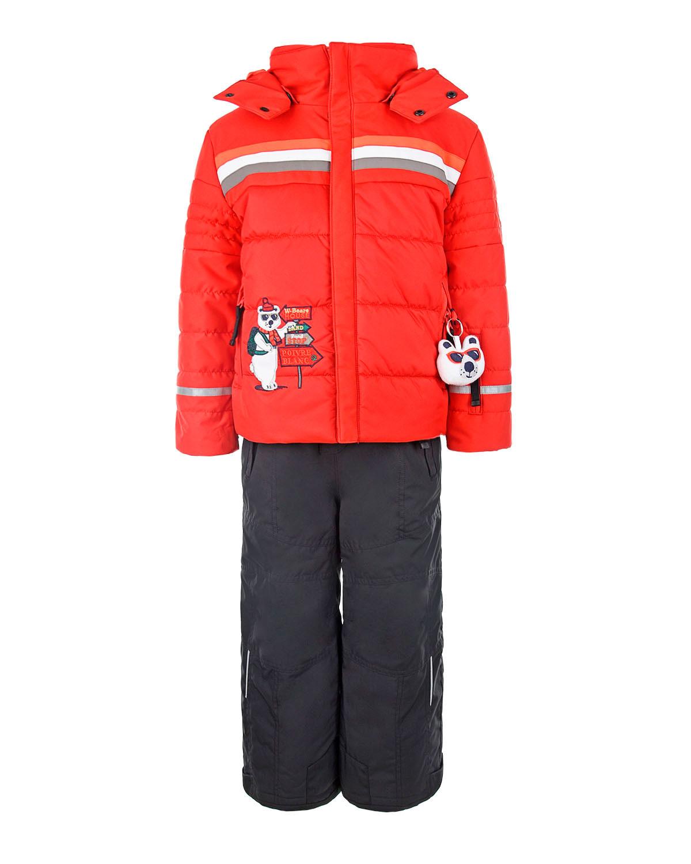 Купить Комплект из куртки и полукомбинезона с аппликацией мишка Poivre Blanc детский, Красный, 100%полиэстер, 100%полиамид