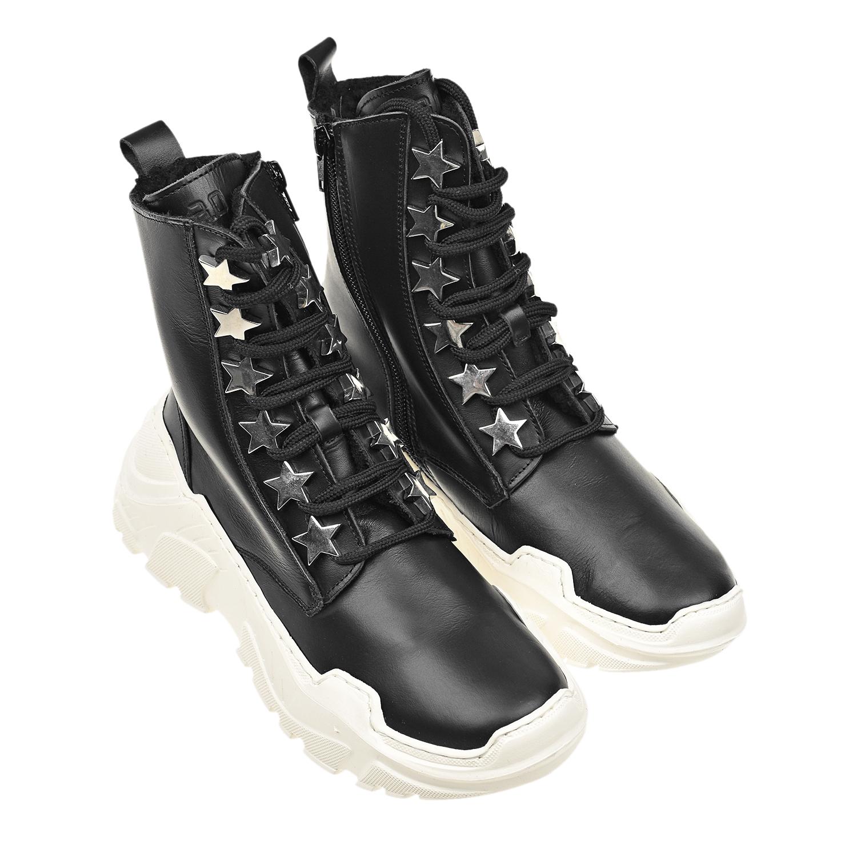 Высокие черные кроссовки из кожи 3.0 детские фото