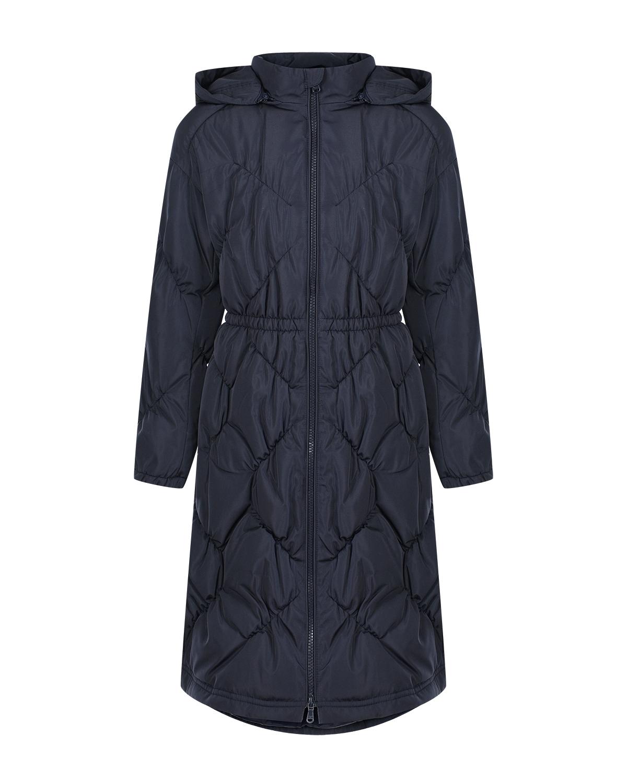 Темно-синее стеганое пальто Emporio Armani детское фото