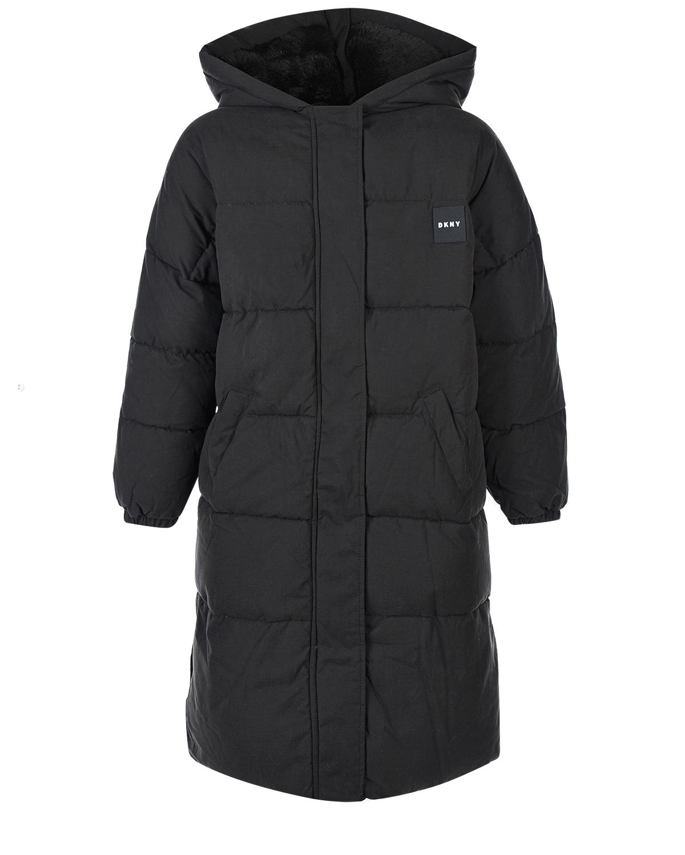 Купить Стеганое пальто с подкладкой из эко-меха DKNY, Черный, 100%полиэстер, 65%полиэстер+35%хлопок