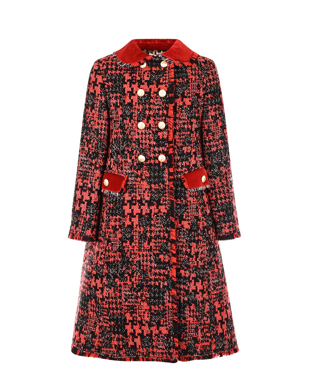 Купить Красное твидовое пальто с берхатной отделкой Dolce&Gabbana детское, Мультиколор, 45%акрил+34%шерсть+11%полиэстер+10%хлопок, 100%вискоза, 100%полиэстер